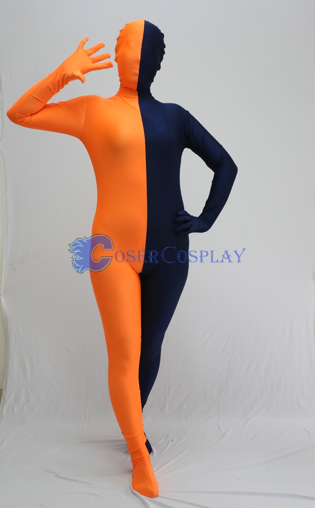 Orange And Royal Blue Split Zentai Suit